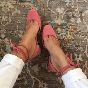 •J. Crew• Ankle Wrap Sling Back Heels -Rose Pink